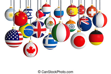 Christmas balls with different flags hanging on white background