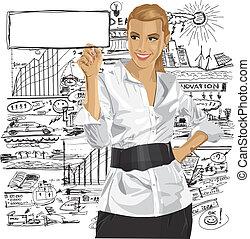 vector, empresa / negocio, mujer, escritura, Algo