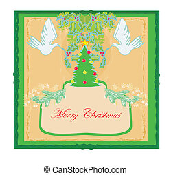 Christmas card with doves and mistletoe