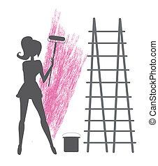 girl paints the wall