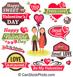 valentine`s day set - Valentine`s Day Vector Set - labels,...