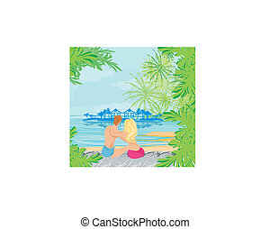 couple on tropical beach