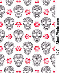 seamless pattern with abstract floral skulls - Vector...