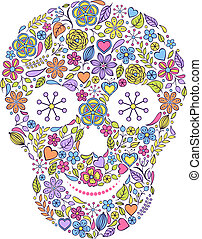floral skull isolated on white background.