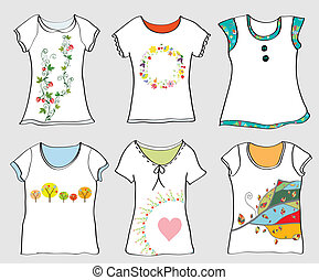 T-shirts templates set with floral motives