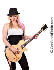 happy girl with electric guitar on white