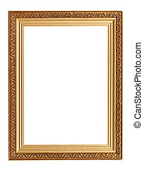 picture frame with carved pattern - wide golden picture...