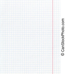 white squared paper page with red margin - background from...