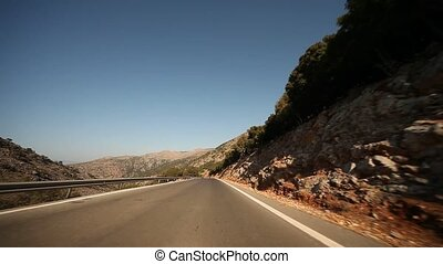 Greece, Crete, Driving on Highway - POV video footage of...