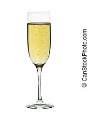 A champagne flute against a white background