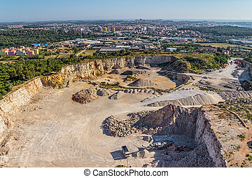 Stone quarry - Helicopter shoot of the quarry