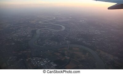 Flight over Duesseldorf, Germany - video footage of flying...