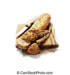 Freshly baked bread - Freshly baked bread on white...