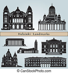Helsinki landmarks and monuments isolated on blue background...