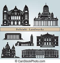 Helsinki landmarks and monuments isolated on blue background...