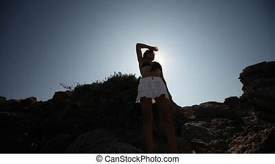 Latin Woman with sunglasses in Sun - latin woman with...