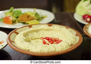 Baba Ghanoush - Lebanese food starter, baba ghanoush topped...