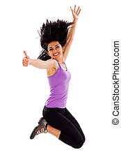 Jumping High - Pretty woman liking his body condition -...