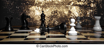 Game of chess - A pawn and the won king. Game of chess