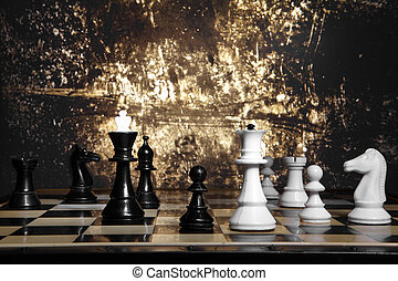 A chess game - To move the queen. Game of chess