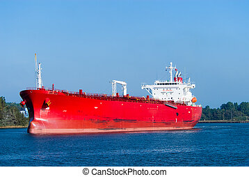 huge red oil tanker - A huge red oil tanker