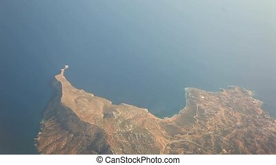 Flying Over the Island of Crete, Greece