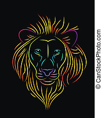 rainbow lion - vector illustration of colorfull lion drawing...