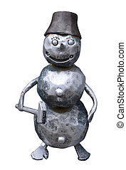 The isolated forged metal snowman with a hammer on a white...