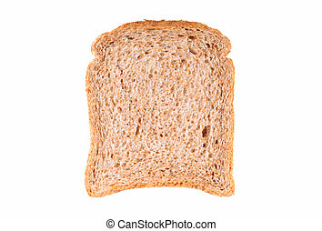 Slice of wholemeal bread over white background