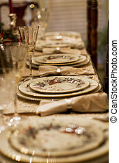 Holiday Place Settings - Formal china, crystal, and silver...