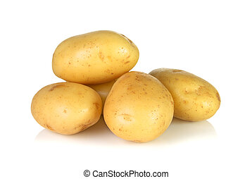 Raw potatos over white background