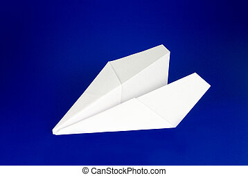 Paper Airplane - Paper airplane over blue background