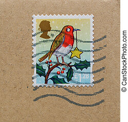 UK stamp with robin