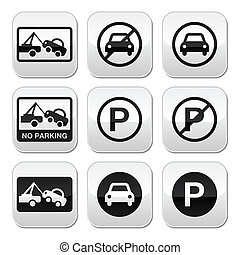 No parking, cars buttons set - Warning traffic signs - no...