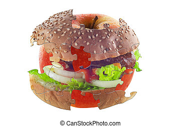 diet puzzle with hamburger and apple