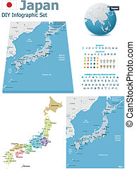 Japan maps with markers - Set of the political Japan maps,...
