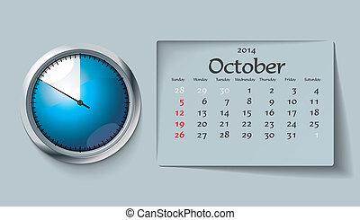 october 2014 - calendar - vector illustration