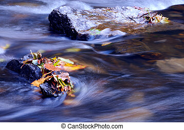 autumn river - peaceful scene of autumn leaves on a rock in...