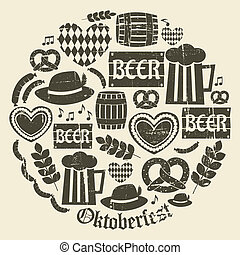 Oktoberfest Icons Collection - A set of grunge icons for...