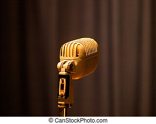 vintage microphone - vintage audio microphone against the...