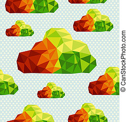 Colorful abstract geometric cloud shapes seamless pattern...