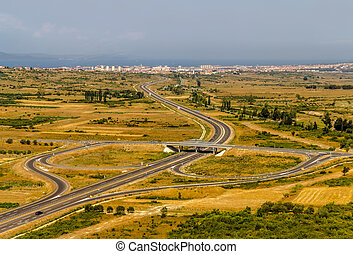 Highway - Aerial shot of highway near Zadar, Croatia.