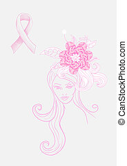 Breast cancer awareness concept: Beautiful Woman with flowers hand drawn illustration. EPS10 vector file with transparency organized in layers for easy editing.