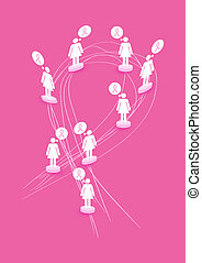Breast cancer awareness concept illustration: Women figures over abstract ribbon symbol shape. EPS10 vector file with transparency organized in layers for easy editing.