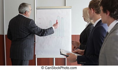 Senior coach - Senior businessman presenting the financial...