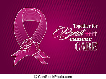 Global collaboration breast cancer awareness concept illustration. Human hands together creating a ribbon symbol. EPS10 vector file organized in layers for easy editing.