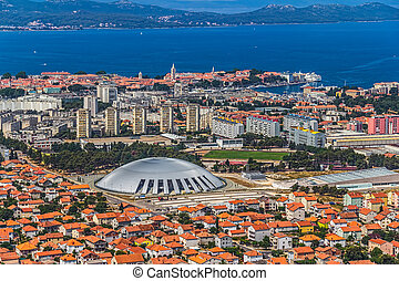 Zadar aerial - Aerial shot of Zadar new part, residential...