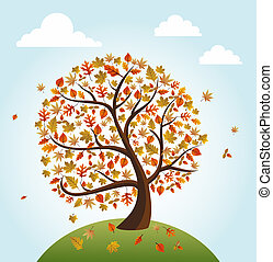 Vintage autumn composition. Tree with falling leaves over world illustration. EPS10 vector file organized in layers for easy editing.
