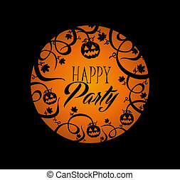 Happy Party Halloween text over orange full moon with pumpkin lantern and spooky forest concept background. EPS10 Vector file organized in layers for easy editing.