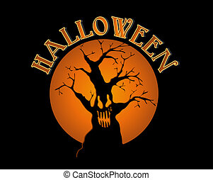 Halloween text spooky tree and orange full moon illustration. EPS10 Vector file organized in layers for easy editing.